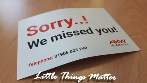 Little Things Matter – 'Sorry we missed you' cards